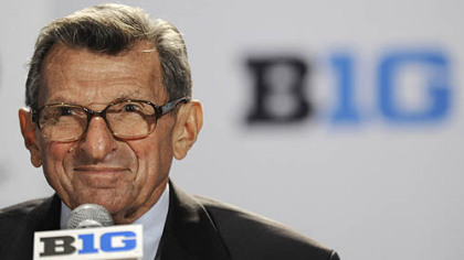 Penn State coach Joe Paterno talks to reporters during Big Ten football media day in Chicago last month.