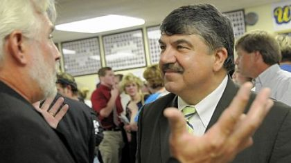AFL-CIO President Richard Trumka last year at Carmichaels Area High School, from which he graduated in 1967. He writes for The Huffington Post but is not paid.