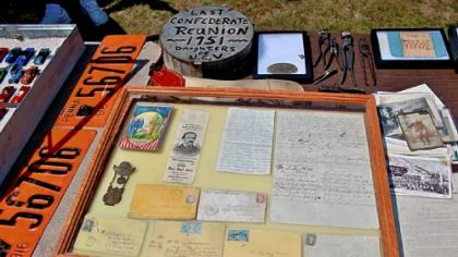 Civil War letters and old Pennsylvania license plates.