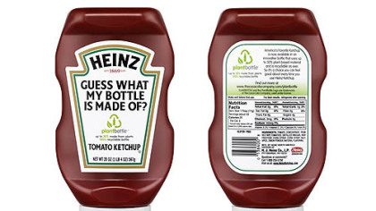 "A promotional image for the new Heinz ketchup ""PlantBottle."""