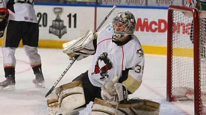 Wilkes-Barre/Scranton Penguins goaltender Brad Thiessen has a 34-7-1 record this season.