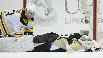 Boston has stunned the Penguins not once, but twice, this season. In the most recent instance ? Jan. 10 ? Marc-Andre Fleury lies prone in front of Bruins forward Michael Ryder after giving up the third of four Bruins goals in the final 3:23 of a 4-2 loss at Consol Energy Center.