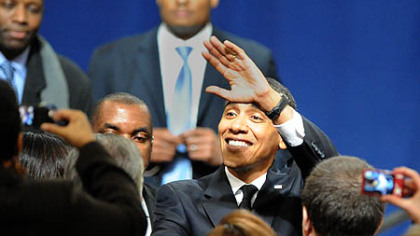"President Barack Obama greets the audience after delivering his speech about investing in innovation and clean energy as part of his plan to ""Win the Future"" at Penn State University on Thursday."