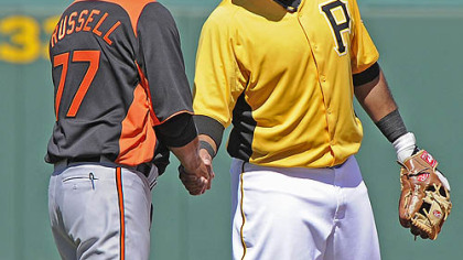 Pirates third baseman Pedro Alvarez greets ex-Pirates manager John Russell, currently with the Orioles, Monday.