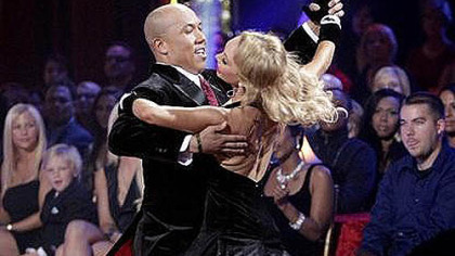Hines Ward and Kym Johnson with moves not seen on the football field.