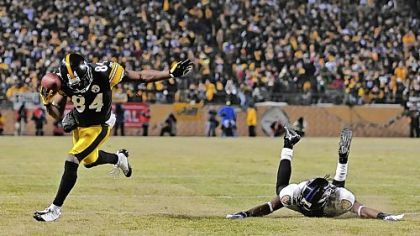Steelers wide receiver Antonio Brown makes a 58-yard catch for a first down against the Ravens in the fourth quarter. PG slideshow: Steelers vs. Ravens