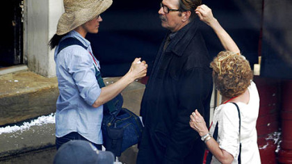 "Gary Oldman, who plays Jim Gordon, gets makeup and hair attention on the set of ""Magnus Rex,"" the code name for the lastest Batman movie."