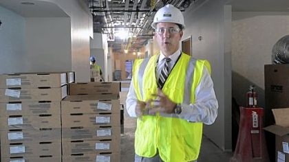 Mark Sevco, president, UPMC East, shows a hallway in the new hospital.