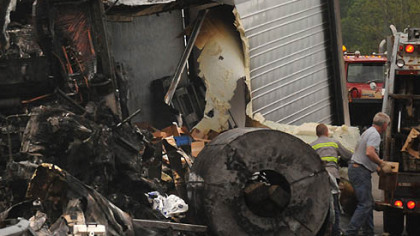 The cleanup continues at the Pennsylvania Welcome Center in Donegal, Washington County. Two people were killed in the crash along Interstate 70 that involved several tractor-trailers.