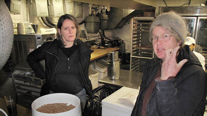 Elizabeth Dyck, right, in the kitchen of I Trulli in New York City with chef Patti Jackson.