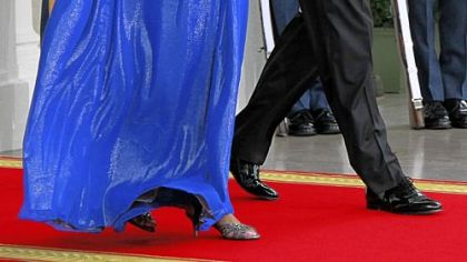 Michelle Obama wearing a Peter Soronen gown