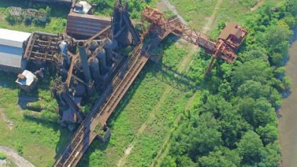 Carrie Furnaces seen from a helicopter in July 2006, showing how much of an unedited &quot;wild garden&quot; existed on the site five years ago.