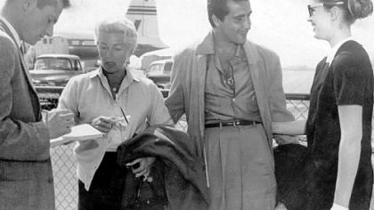 On March 20, 1958, an unidentified reporter talks with Lana Turner, Johnny Stompanato and her daughter, Cheryl Crane, at the Los Angeles airport after they returned from a vacation in Mexico. On April 5, 1958, Cheryl was booked for the murder of Mr. Stompanato at Lana Turner's house in Beverly Hills.