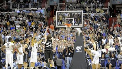 Butler's Matt Howard puts up a free throw to take the lead with .08 seconds left Saturday against Pitt in the third round of the NCAA tournament.