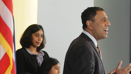 Mt. Lebanon Commissioner D. Raja was accompanied by his family, from left, Dr. Neeta and daughters Omisa and Isana in announcing his candidacy for Allegheny County executive.