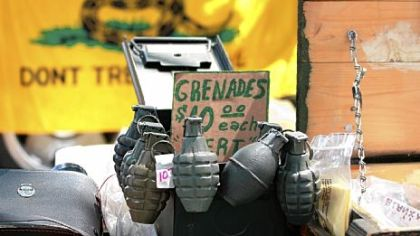 Grenades for sale at flea market,inert, of course!