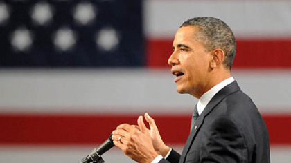 President Obama addresses the audiences about investing in innovation and clean energy as part of his plan to &quot;Win the Future&quot; at Penn State University on Thursday.