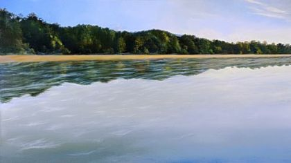 """Summer Morning, Allegheny River"" (2010-11) is one of six paintings in an exhibit by Patrick Ruane at the Westmoreland Museum of American Art."