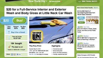 In this screen shot from groupon.com, a coupon for a New York City carwash is displayed.