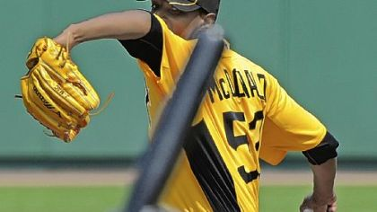 Likely  No. 3 Pirates starter James McDonald delivers against the Toronto Blue Jays at McKechnie Field Sunday in Bradenton, Fla.