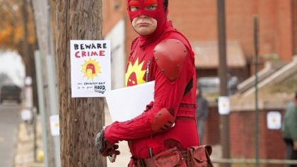 Rainn Wilson fights crime as the Crimson Bolt in &quot;Super.&quot;