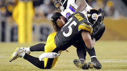 Safety Ryan Clark takes down Ravens receiver Anquan Boldin in the second quarter of the AFC Divisional playoff Saturday at Heinz Field. Boldin was held to just one catch for -2 yards on the evening.