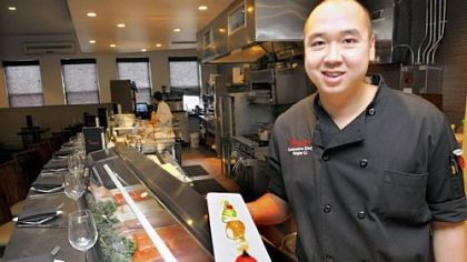 Tamari executive chef Roger Li, with his plate of temari (ball sushi) at the Lawrenceville restaurant.