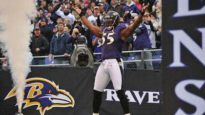 Ravens linebacker Terrell Suggs had 11 sacks this season.