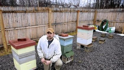 Steve Rapasky, director of the Burgh Bees community apiary on Susequanna Street, poses for a portrait inside the apiary Monday. Rapasky lives in Dormont.