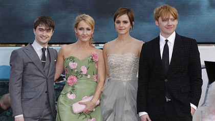 "Author J.K. Rowling, second left, joins actors Daniel Radcliffe, Emma Watson and Rupert Grint July 7 in London's Trafalgar Square for the world premiere of ""Harry Potter and the Deathly Hallows, Part 2"" the last film in the series."