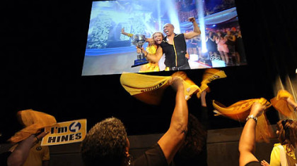 Fans cheer at Stage AE on the North Shore tonight as Hines Ward and partner Kym Johnson are announced the winners of Dancing with the Stars.