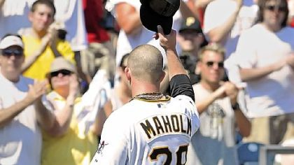 Pirates starting pitcher Paul Maholm waves to the fans after he tormented Cubs batters all day, allowing one earned run while striking out eight over 7 2/3 innings.