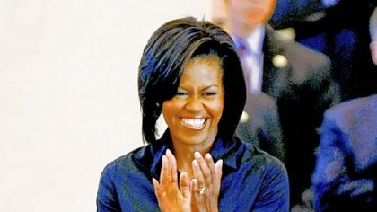 Michelle Obama wearing Sophie Thealiet.