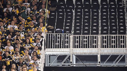 A section of empty seats, deemed unsafe, are seen at Cowboys Stadium before Super Bowl XLV between the Green Bay Packers and the Steelers on Sunday, in Arlington, Texas.