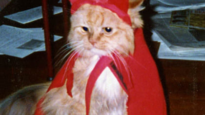 Ralph, dressed as a devil in this photo, was the inspiration for Krenn's radio character, Ralph the Cat.