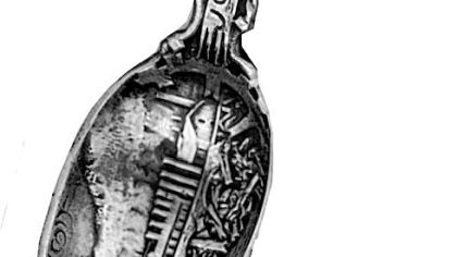 A souvenir spoon was sold by a Johnstown jeweler in 1891, two years after the flood of 1889. The stone bridge, where many of the bodies and debris accumulated, appears on the part of the utensil used to hold food.
