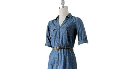 Level 1: To start wearing more denim, begin with a single piece, such as a shirt dress.