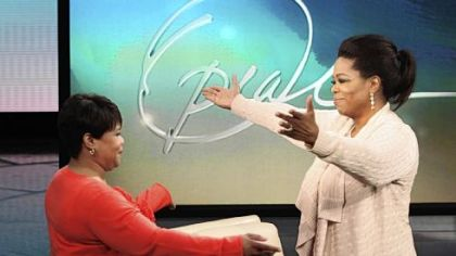 Family ties: Oprah Winfrey and her long-lost half-sister sister Patricia on Jan. 19.