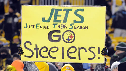 A Steelers fan shows his support with a message for the New York Jets.