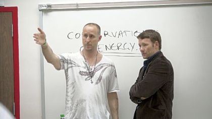 Director/writer/producer Gavin O&#039;Connor (left) with Joel Edgerton  on the set of &quot;Warrior.&quot;