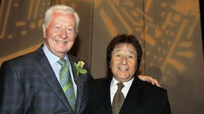 Real-estate developer Jack Piatt (left) with comedian Lonnie Shorr at a benefit event.