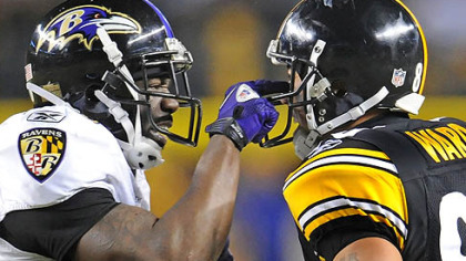 The Ravens&#039; Ed Reed and Steelers&#039; Hines Ward have words during an AFC Divisional playoff game at Heinz Field in January. The two teams will open their respective 2011 seasons facing each other on Sept. 11 in Baltimore.