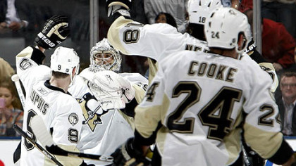 The Penguins celebrate a shootout win against the Maple Leafs following Saturday's game at Air Canada Centre in Toronto.