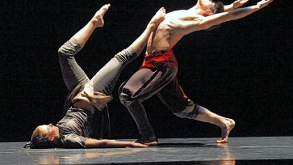 "Conservatory Dance members Erin Kouwe, left, and Zachary Kapeluck perform Toru Shimazaki's ""Bardo."""