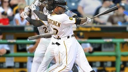 Andrew McCutchen uses his compact swing to make contact Sunday at PNC Park.