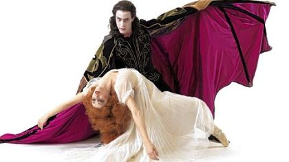"Eva Trapp and Robert Moore in ""Dracula."""