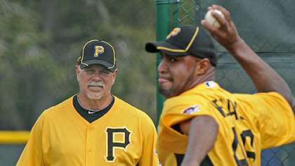 Pirates pitching coach Ray Searage watches the deliver of Jose Veras during recent workouts at Pirate City in Bradenton, Fla.