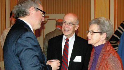 Manfred Honeck greets Joe and Peggy Charny at the season announcement event held for PSO subscribers and donors Tuesday at Heinz Hall.