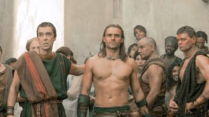 "John Hannah, left, is Batiatus and Dustin Clare is Gannicus in ""Spartacus: Gods of the Arena,"" premiering tonight on Starz."