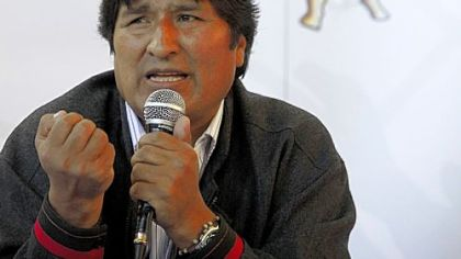 Bolivia's President Evo Morales Ayma at the World People's Conference on Climate Change and the Rights of Mother Earth in Bolivia last year.